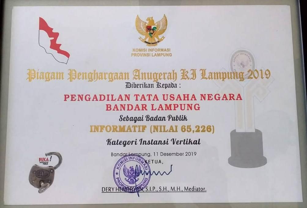 Piagam Penghargaan Anugrah KI Lampung 2019