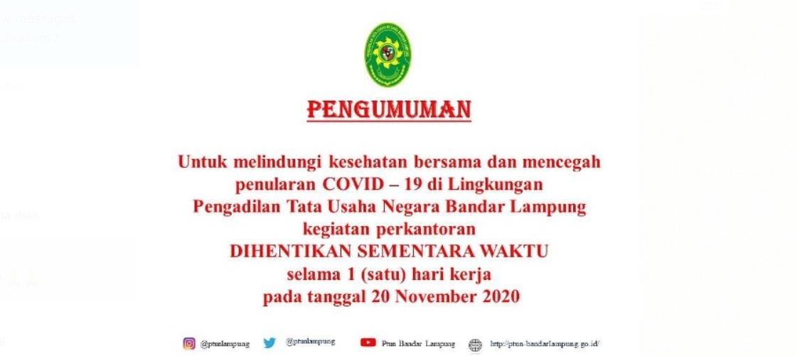 Pengumuman Lockdown Kantor PTUN Bandar Lampung