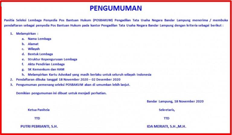 utama web pengumuman pendaftaran posbakum